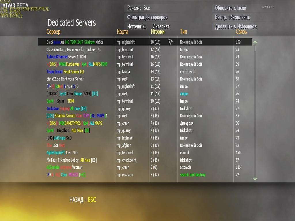 Как сделать список серверов в mw2